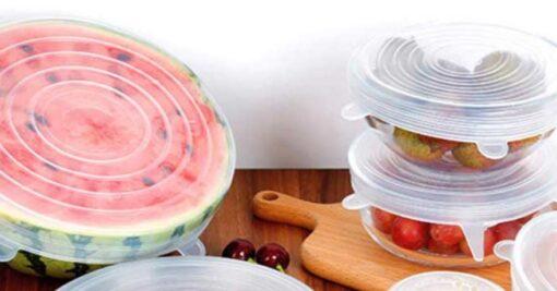 silicone stretch lids over a melon