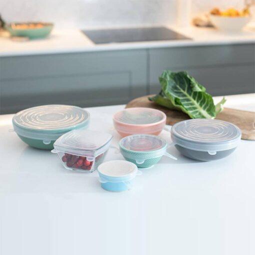 silicone stretch lids in a kitchen