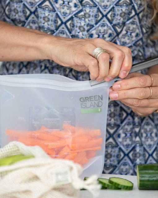reusable food pouch with prepared carrots inside