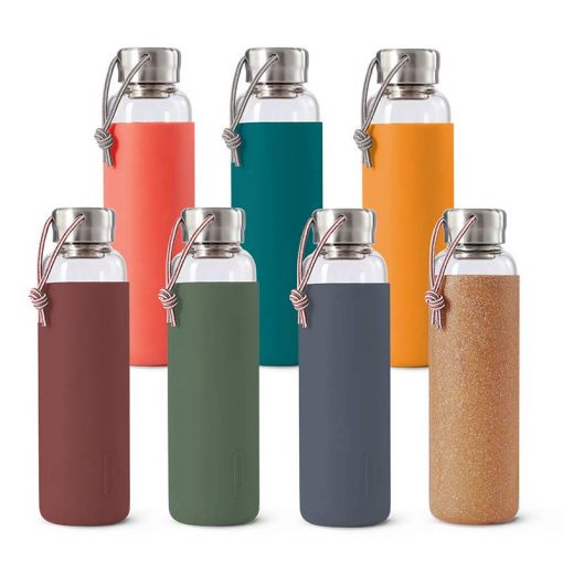 Collection of different colour glass water bottles