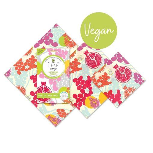 vegan wax food wrap in pomegranate print