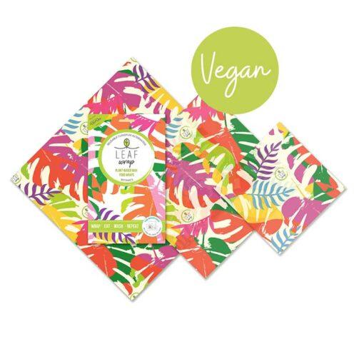 vegan food wrap in botanical print