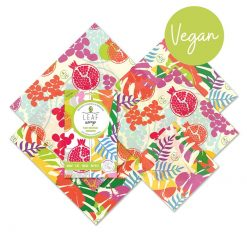 plant based food wrap in tropical prints