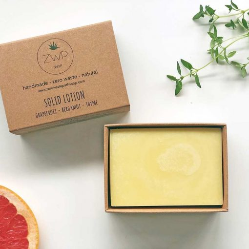 solid moisturiser bar with citrus scent