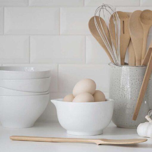 bamboo spatula on kitchen worktop