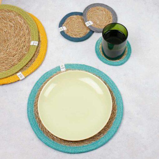 natural coasters and tablemats
