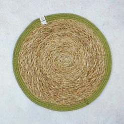 tablemat with green jute border
