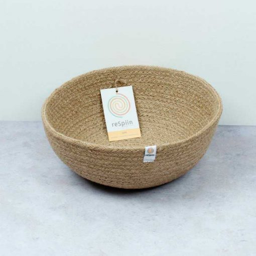 large jute bowl with tag