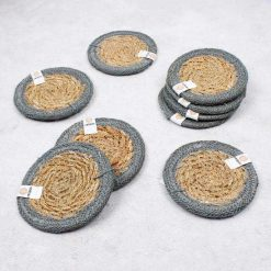 seagrass coasters in grey