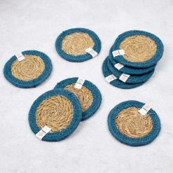 natural coasters with denim jute border