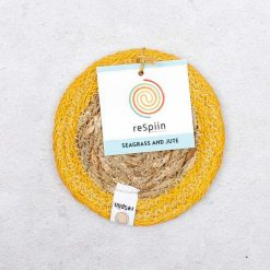 seagrass coaster with yellow jute border