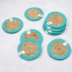 selection of coasters with turquoise blue border