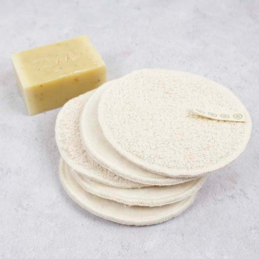 large cotton facial pads stacked on top of one another