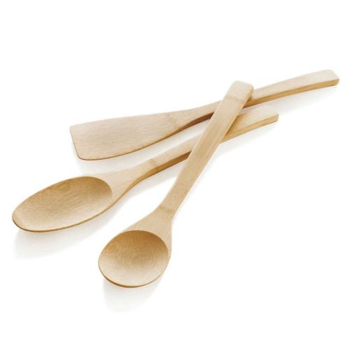 bamboo utensil set on white background