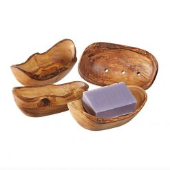 4 wooden soap dishes on white background