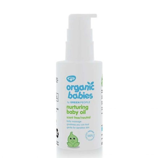 organic baby oil on a white background