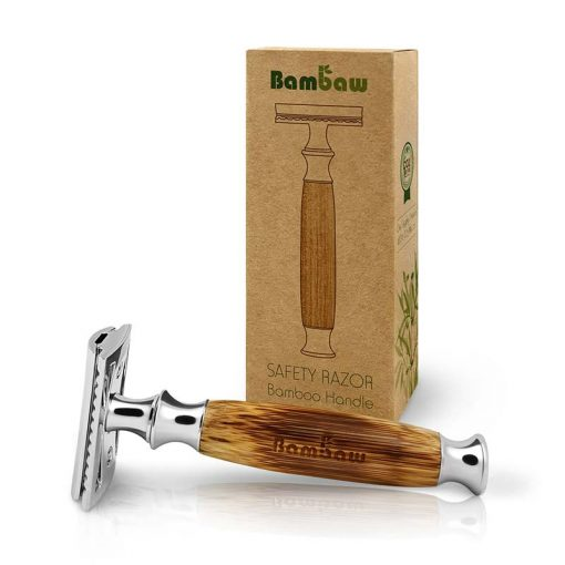 bamboo safety razor next to cardboard packaging
