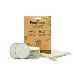 bamboo make up remover pads in cardboard packaging