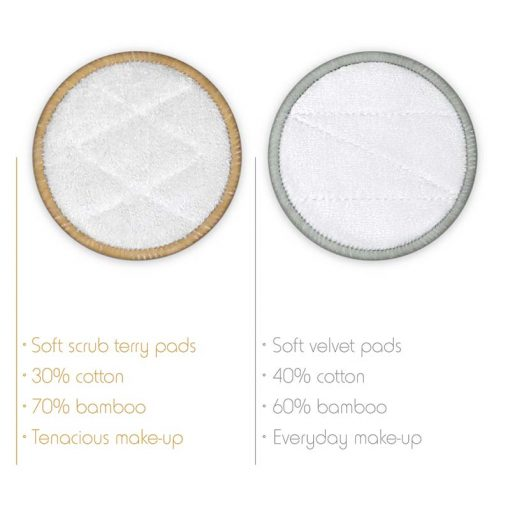 2 types of bamboo make up remover pads
