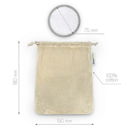 bamboo make up remover pads dimensions infographic