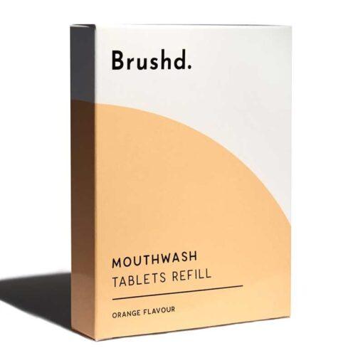 mouthwash tablet refills in cardboard box