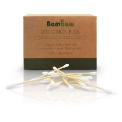 biodegradable cotton buds in cardboard packaging