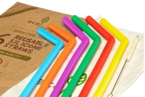 colourful silicone smoothie straws on a table