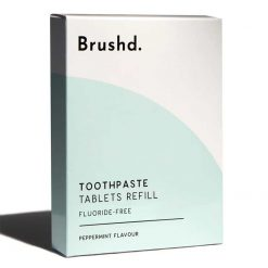 fluoride free toothpaste tablets in a refill box
