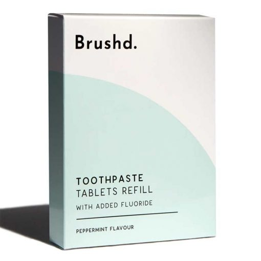 fluoride toothpaste tablets in a refill box