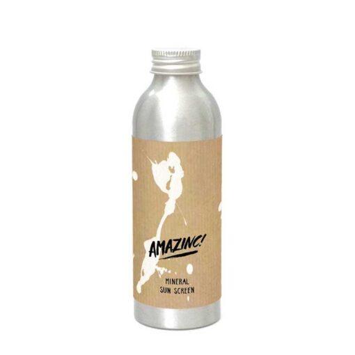 mineral sunscreen in aluminium bottle