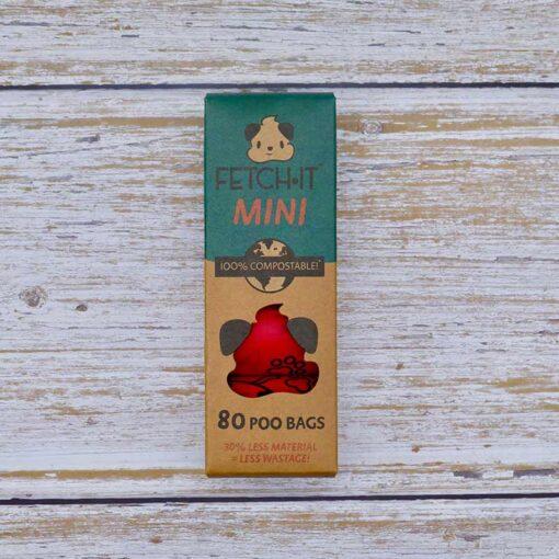 mini compostable poo bags in cardboard box