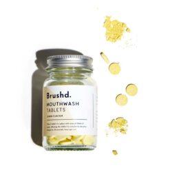 lemon plastic free mouthwash tablets in glass jar