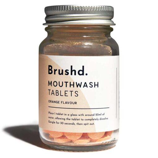 orange plastic free mouthwash tablets product shot