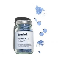peppermint plastic free mouthwash tablets in glass jar