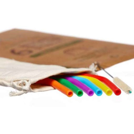 silicone smoothie straws in cotton pouch