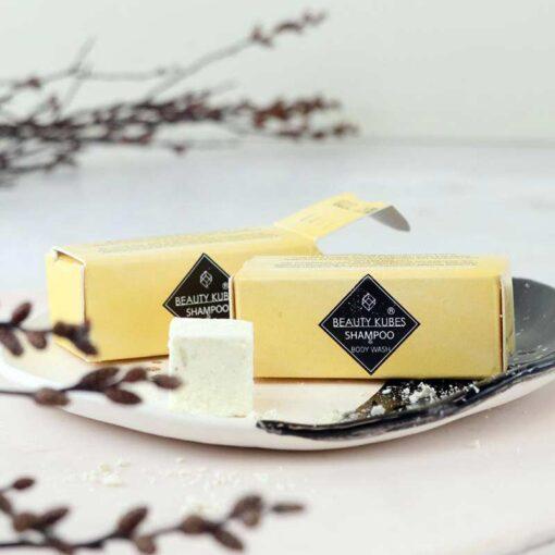beauty kubes sample pack in yellow box