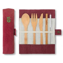 bamboo cutlery set in berry colour