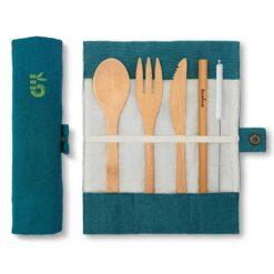 bamboo cutlery set in lagoon colour