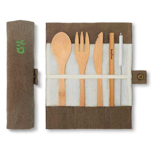 bamboo cutlery set in olive colour