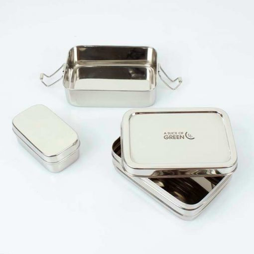 rectangular two tier lunch box on a table top