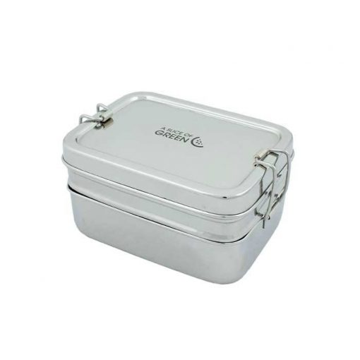 rectangular two tier lunch box on white background