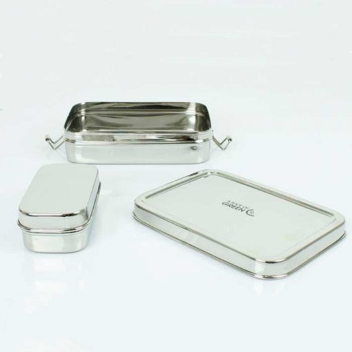 lunch box with mini container on a kitchen table top