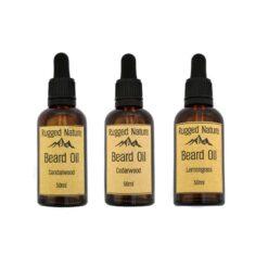 moisturising beard oil in glass bottles