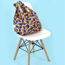 cubes print shopping bag on a chair