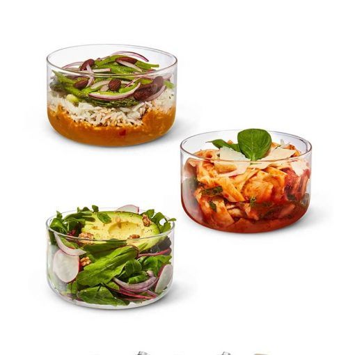 glass lunch bowl images with food prepped in them