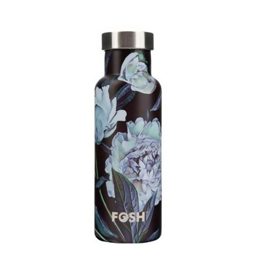 insulated water bottle with leafs on it