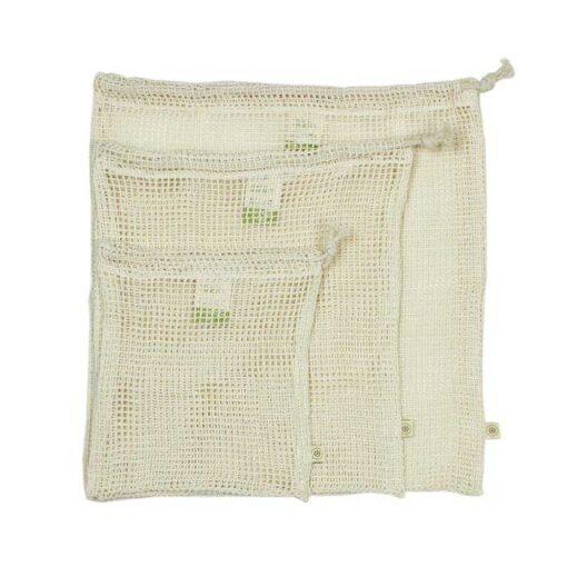 set of 3 organic cotton mesh bags
