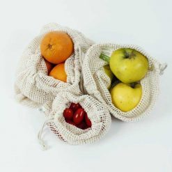 organic cotton mesh bags with fruit and veg in