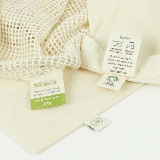 organic cotton mesh bags with GOTS certified logo