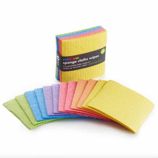rainbow sponge cloth wipes 12 pack
